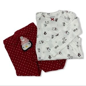 Winter themed two piece coordinating set 12m new